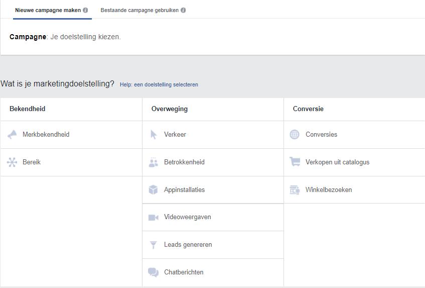 marketingdoelstellingen facebook adverteren