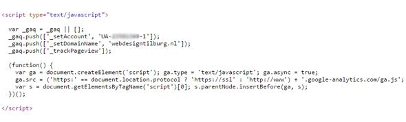 code oude analytics