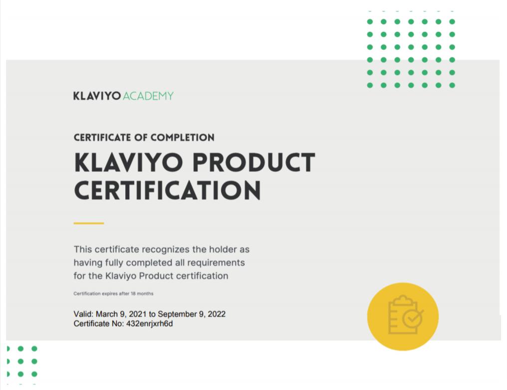 Klaviyo certificate of completion